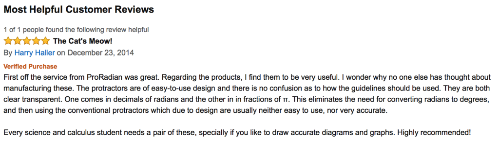 A review from a buyer on Amazon.com.